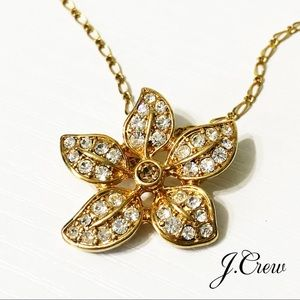 J. Crew | Pave Crystal Flower Pendant Necklace